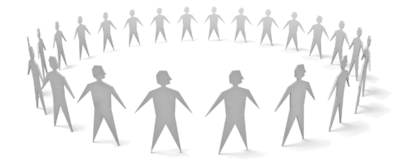 Cut paper graphic of people in a circle
