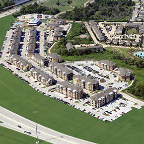 Aerial photo of Campus Village at College Station